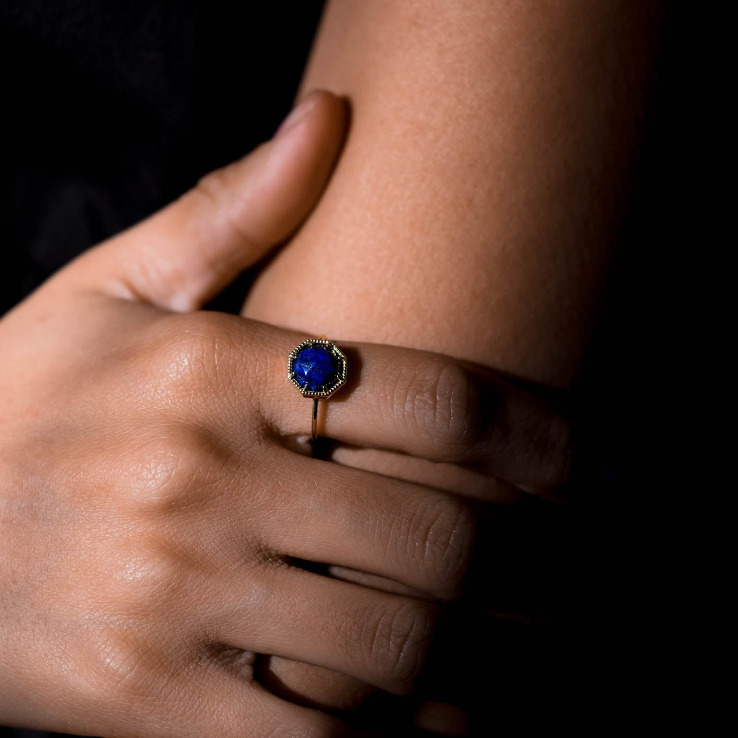 Maman Crown Bezel Lapis Ring - RTS