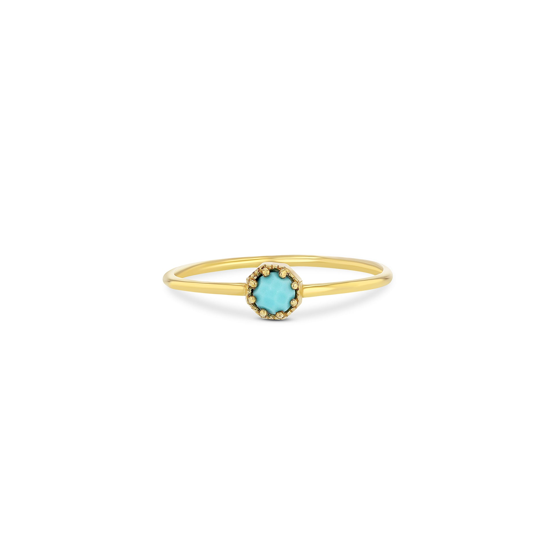 Petite Crown Bezel Turquoise Ring