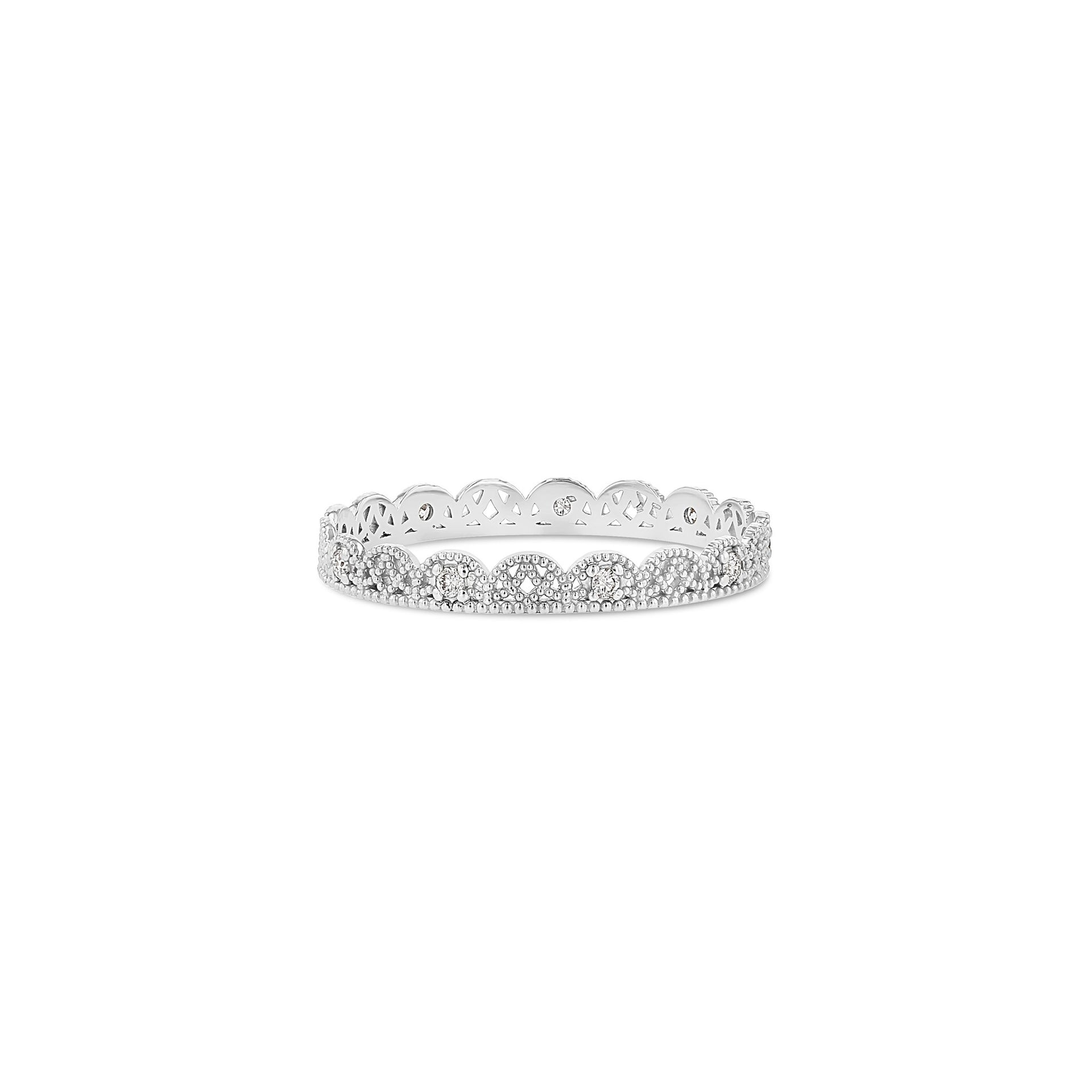 Petite Lace Band with Alternating Diamonds