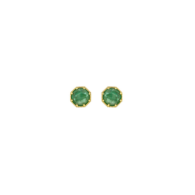 Crown Bezel Emerald Earrings