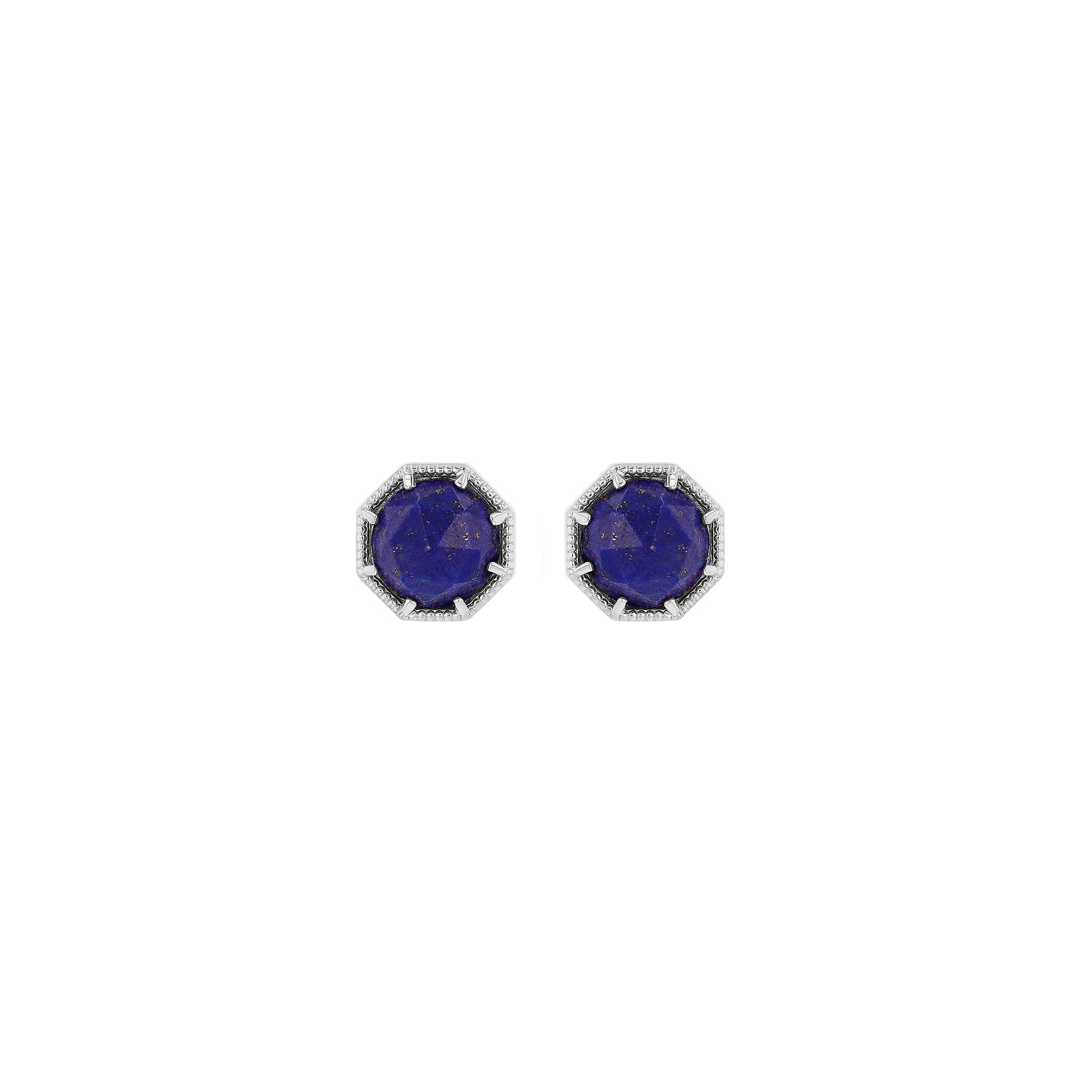 Maman Crown Bezel Lapis Earrings