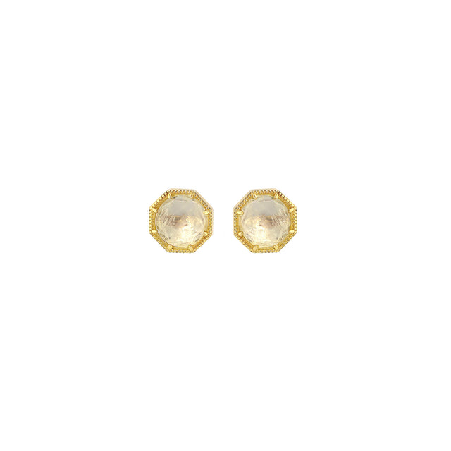 Maman Crown Bezel Moonstone Earrings