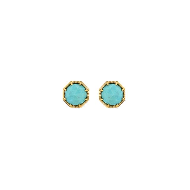 Maman Crown Bezel Turquoise Earrings