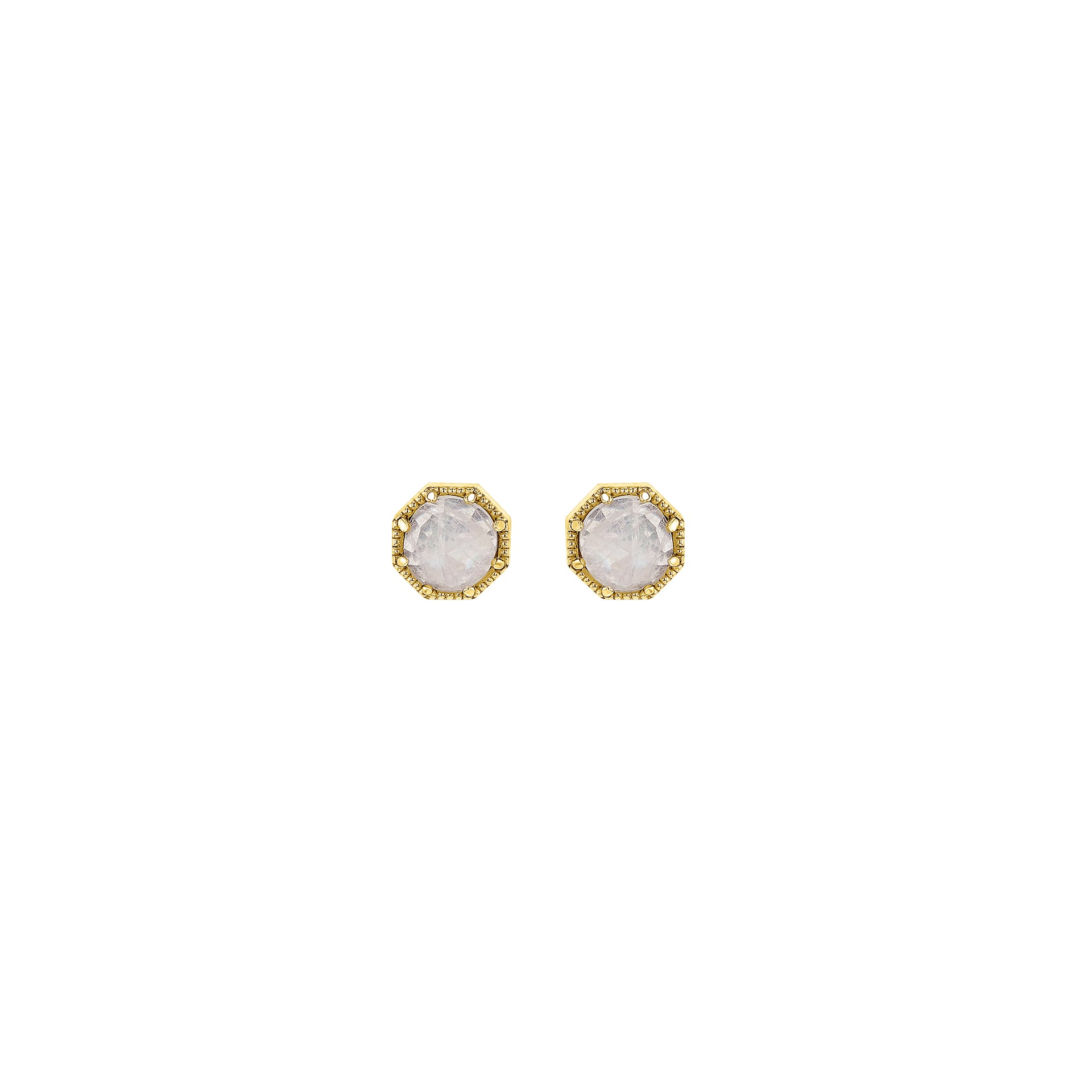 Crown Bezel Moonstone Earrings - RTS