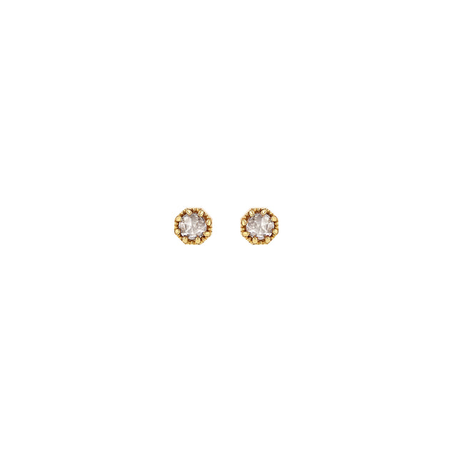 Petite Crown Bezel Diamond Earrings