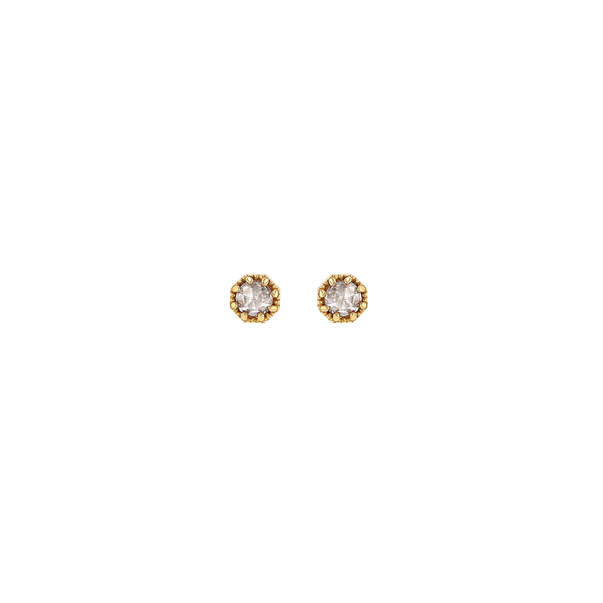 Petite Crown Bezel Diamond Earrings - RTS