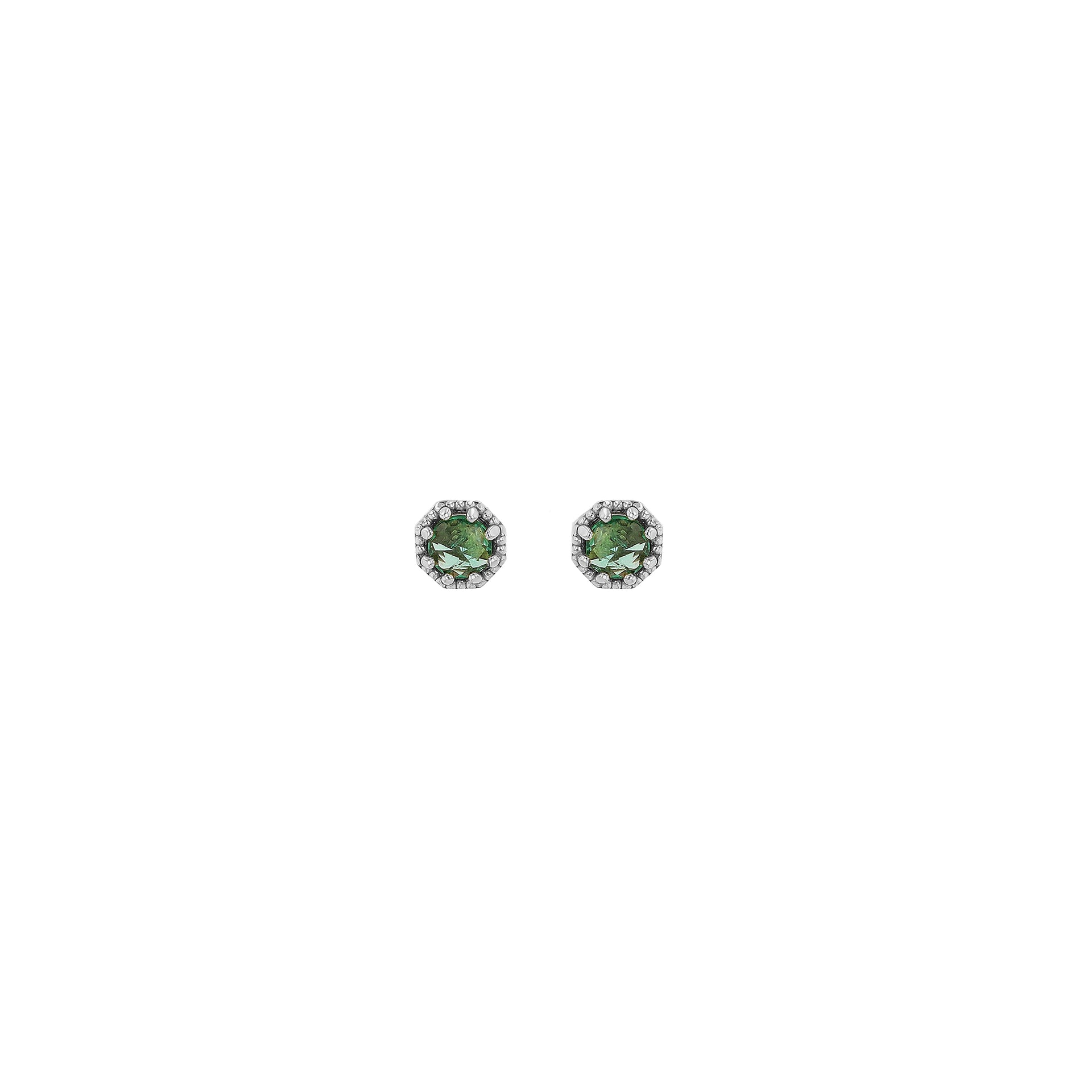 Petite Crown Bezel Emerald Earrings - RTS