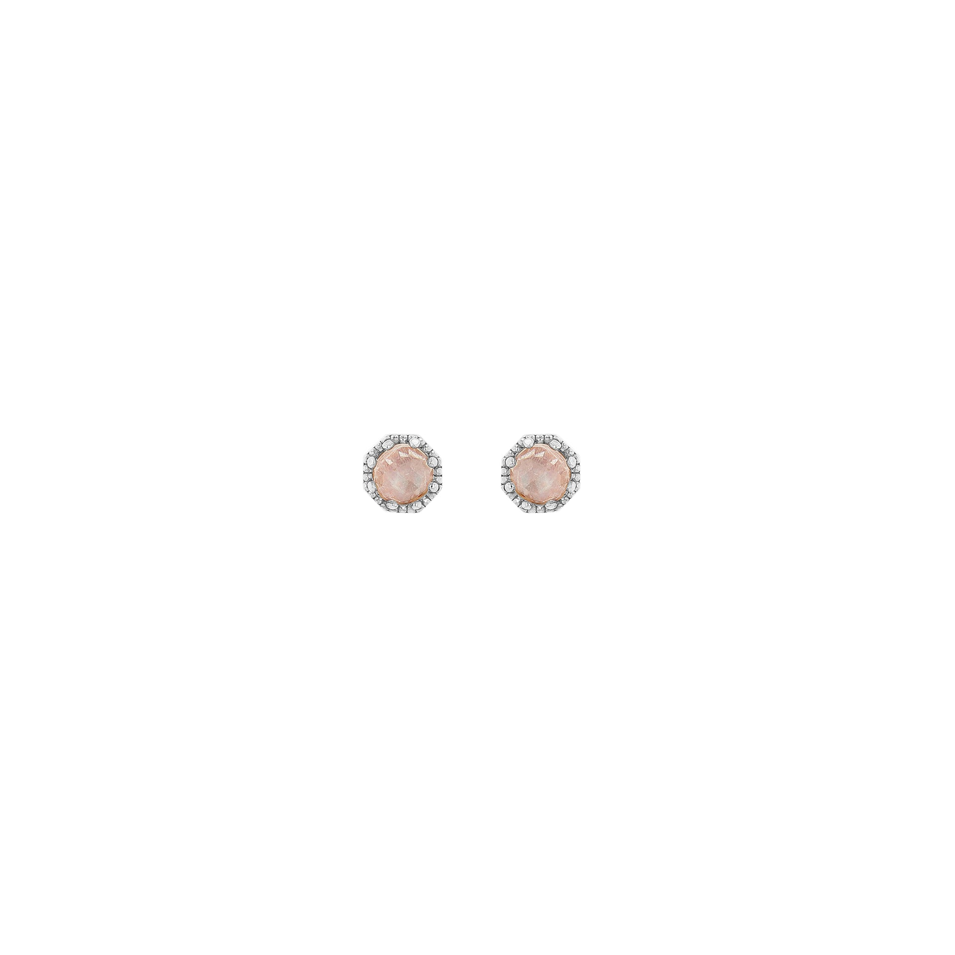 Petite Crown Bezel Moonstone Earrings - RTS