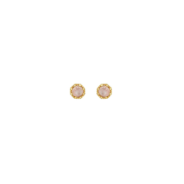 Petite Crown Bezel Moonstone Earrings