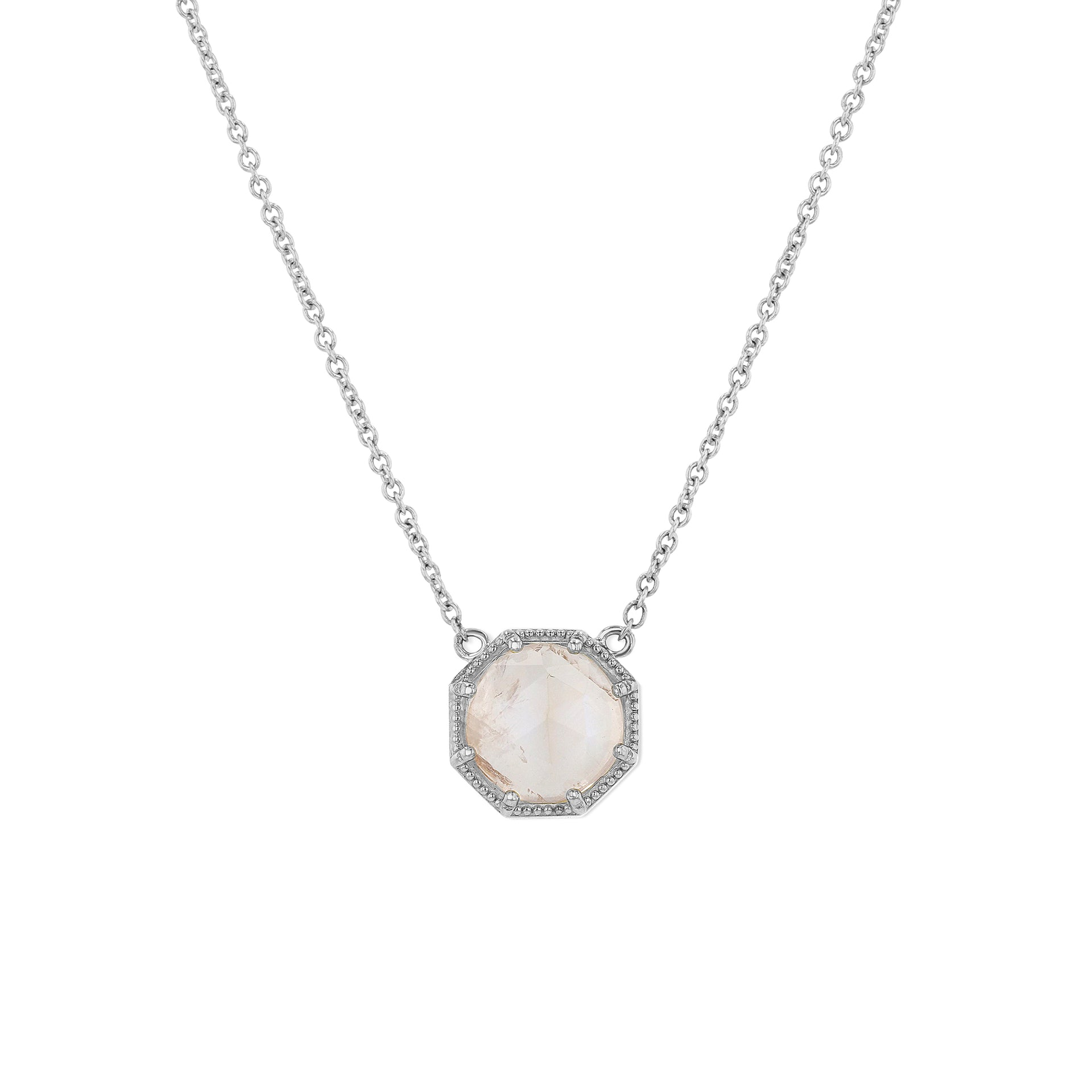 Maman Crown Bezel Moonstone Necklace - RTS