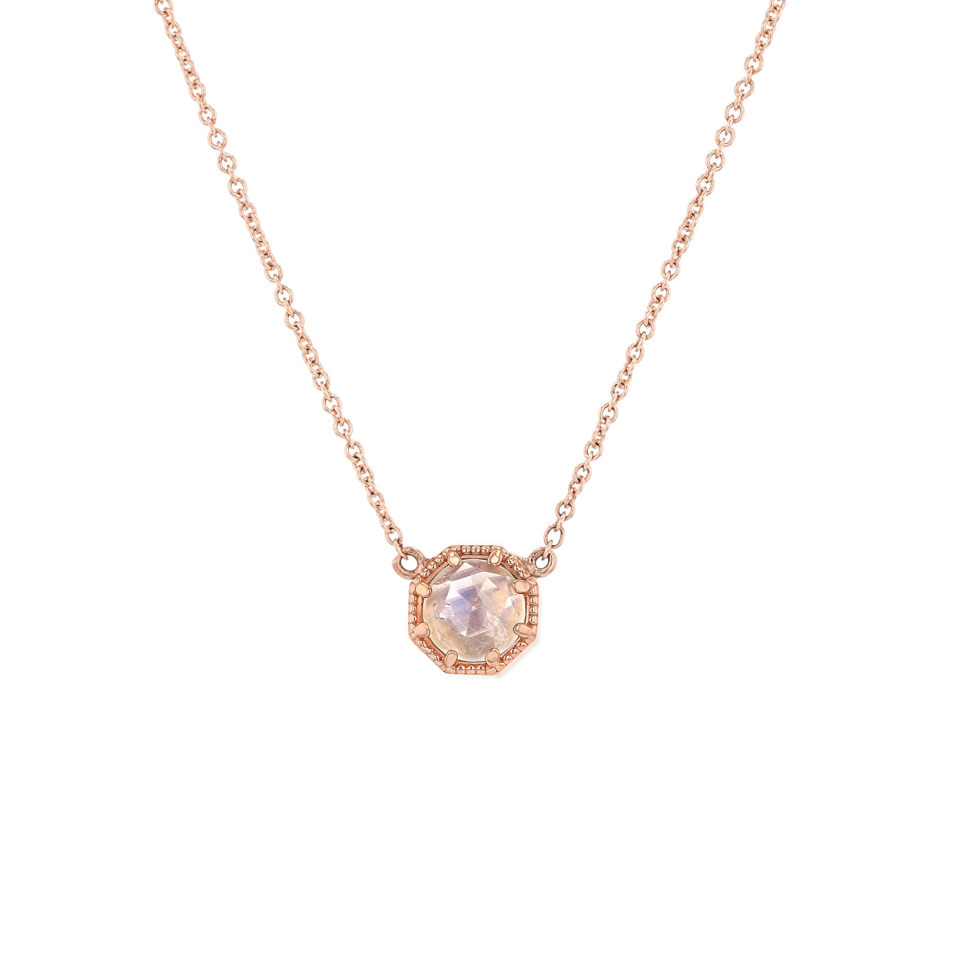 Crown Bezel Moonstone Necklace