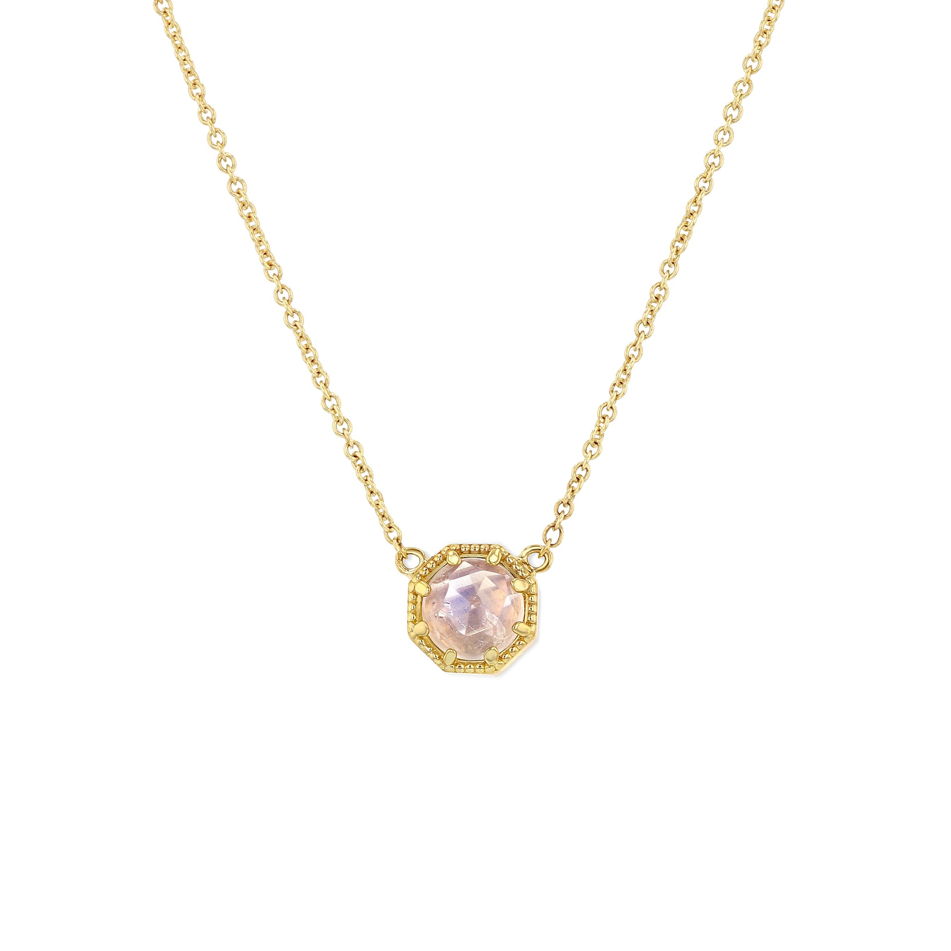 Crown Bezel Moonstone Necklace - RTS