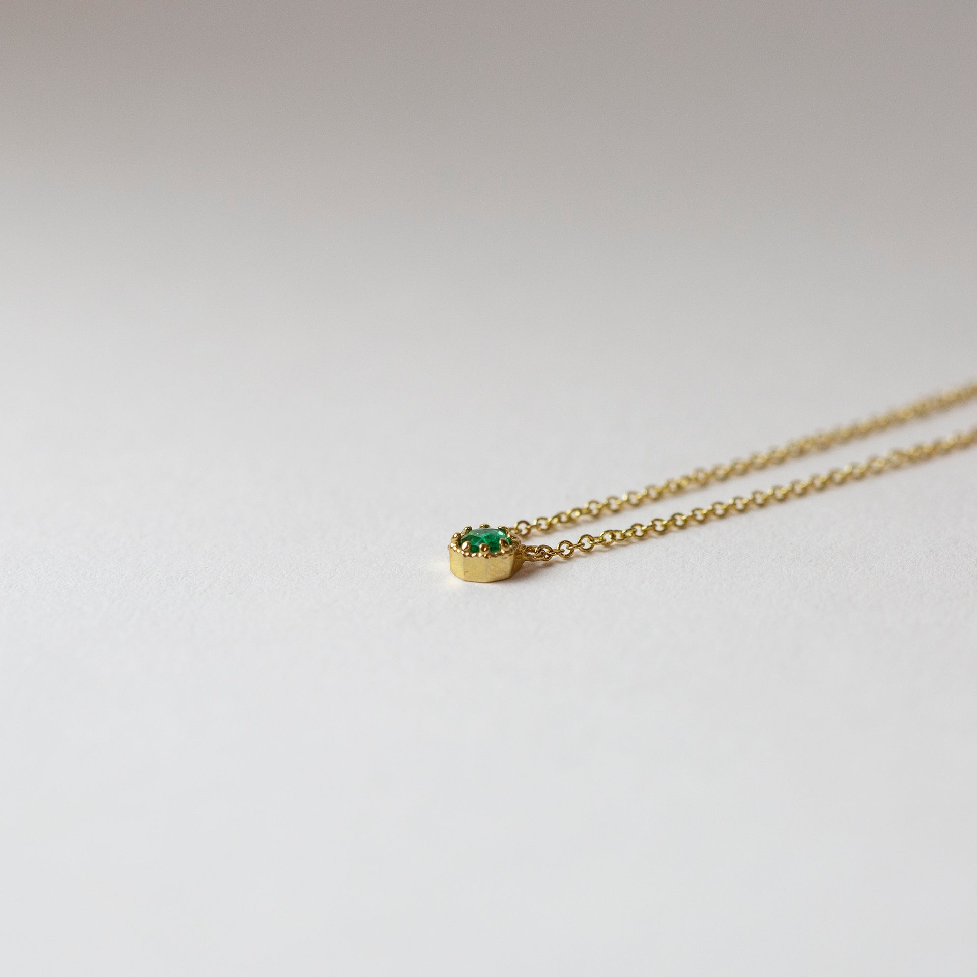 Petite Crown Bezel Emerald Necklace