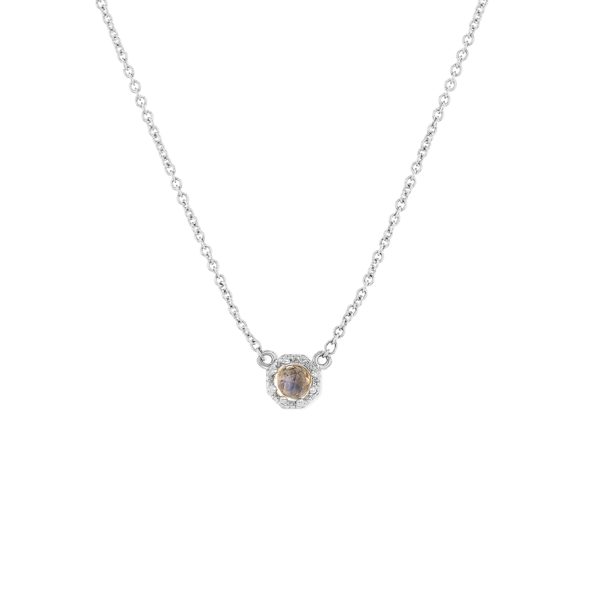 Petite Crown Bezel Moonstone Necklace - RTS