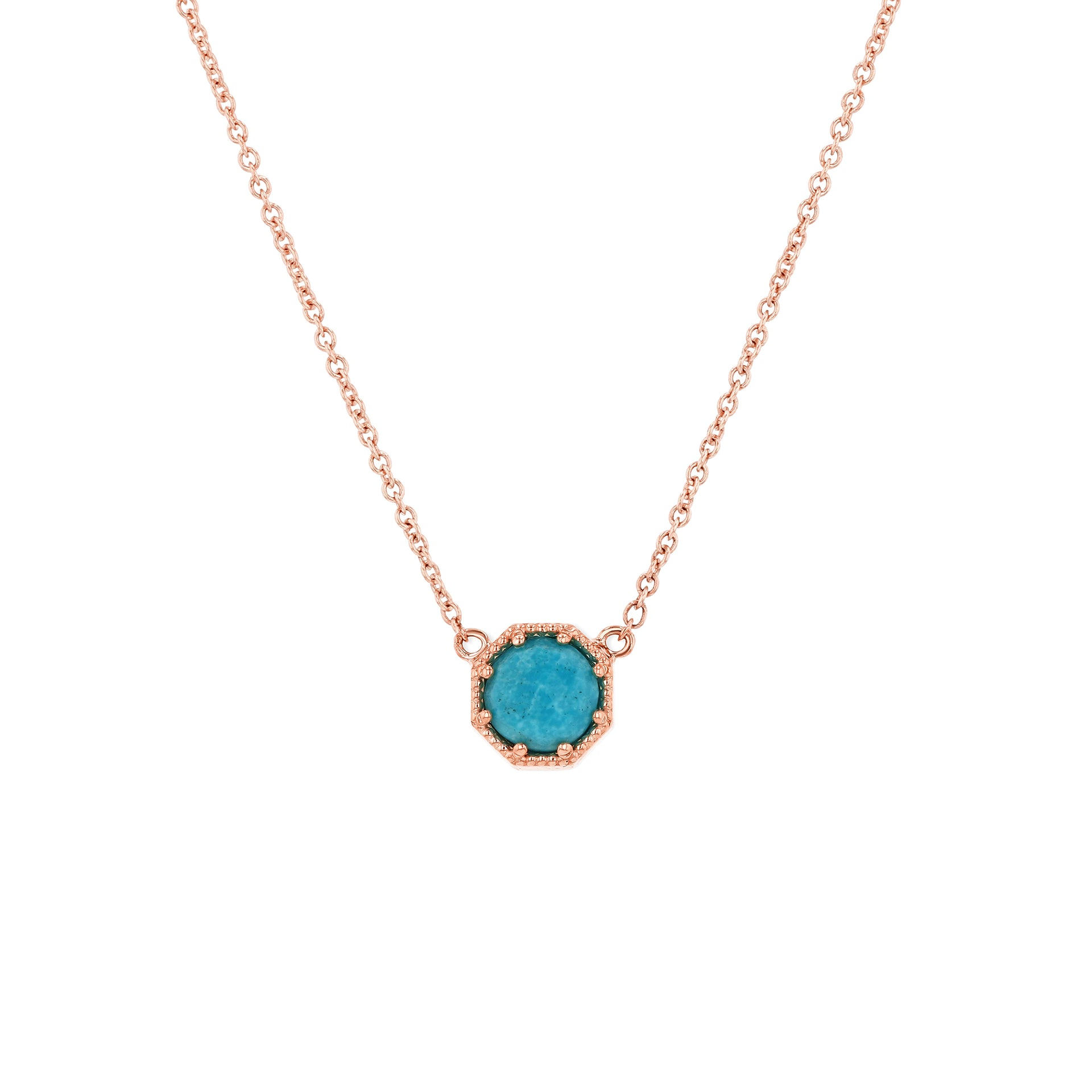 Crown Bezel Turquoise Necklace