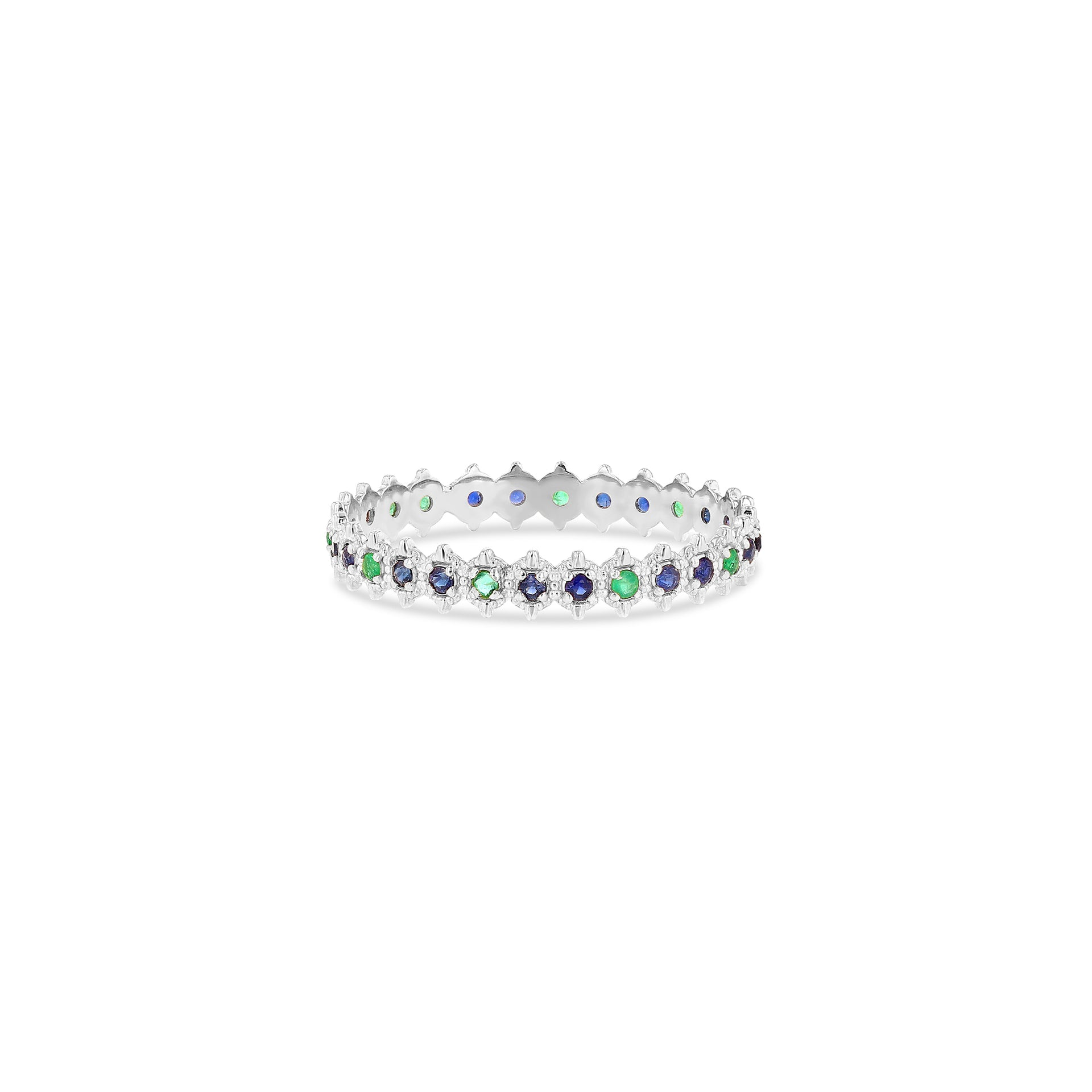 Symm-Beaded Ring with Double Blue Sapphire and Emerald