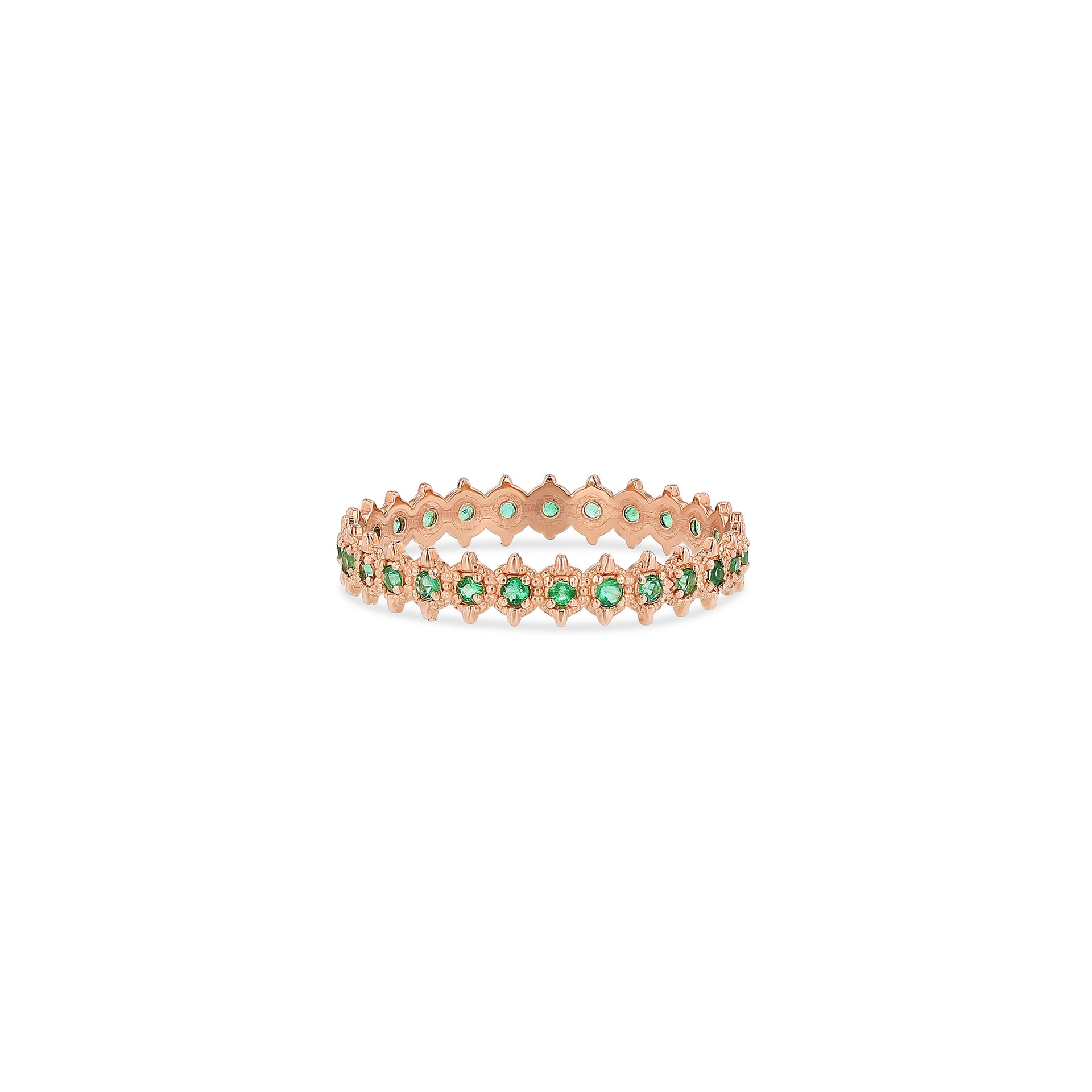 Symm-Beaded Ring with Emeralds