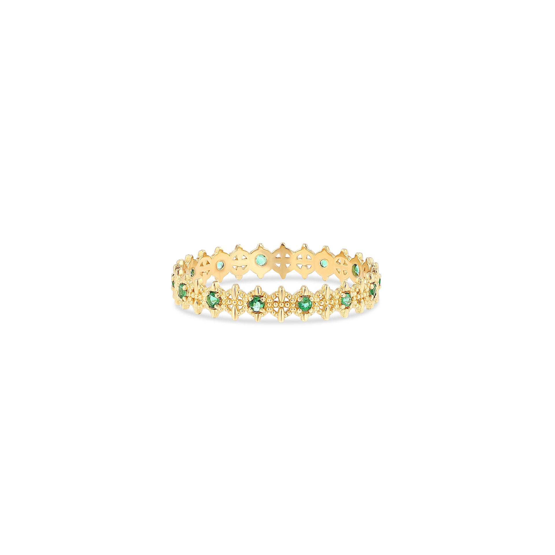 Symm-Beaded Ring with Alternating Emeralds