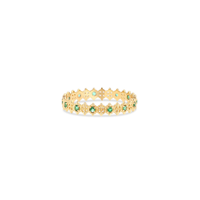 Symm-Beaded Ring with Alternating Emeralds - RTS