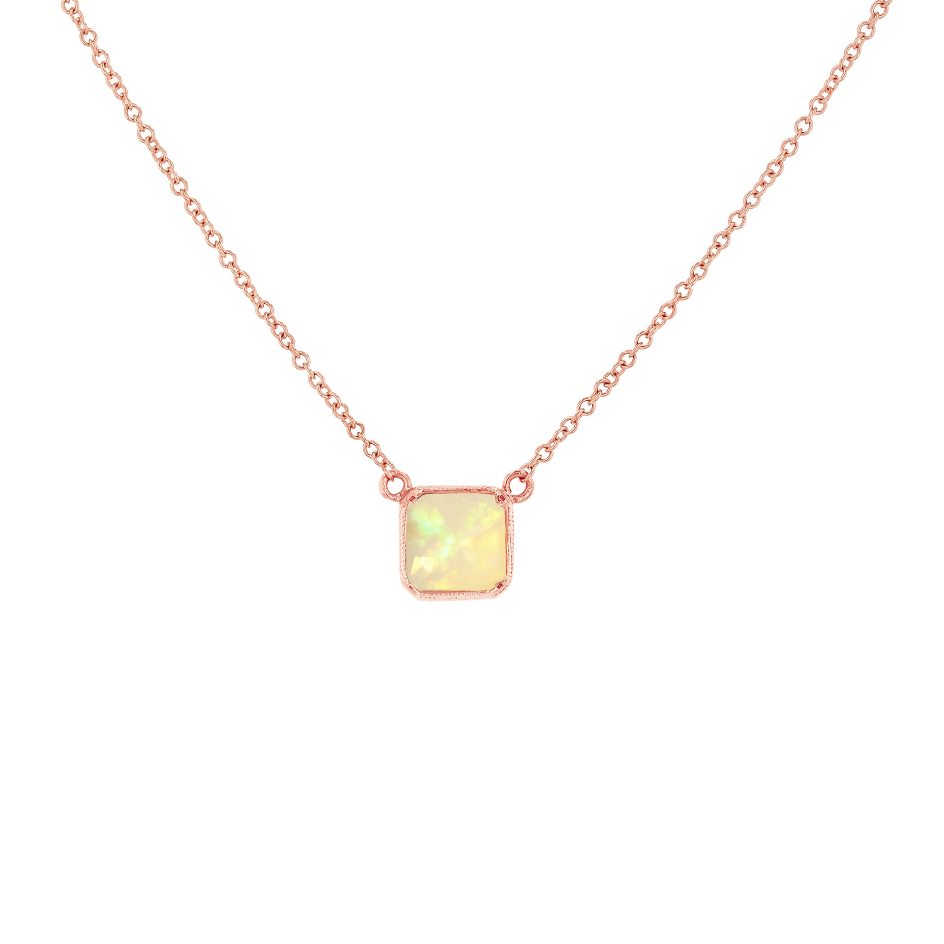 Square Bezel Opal Necklace - RTS
