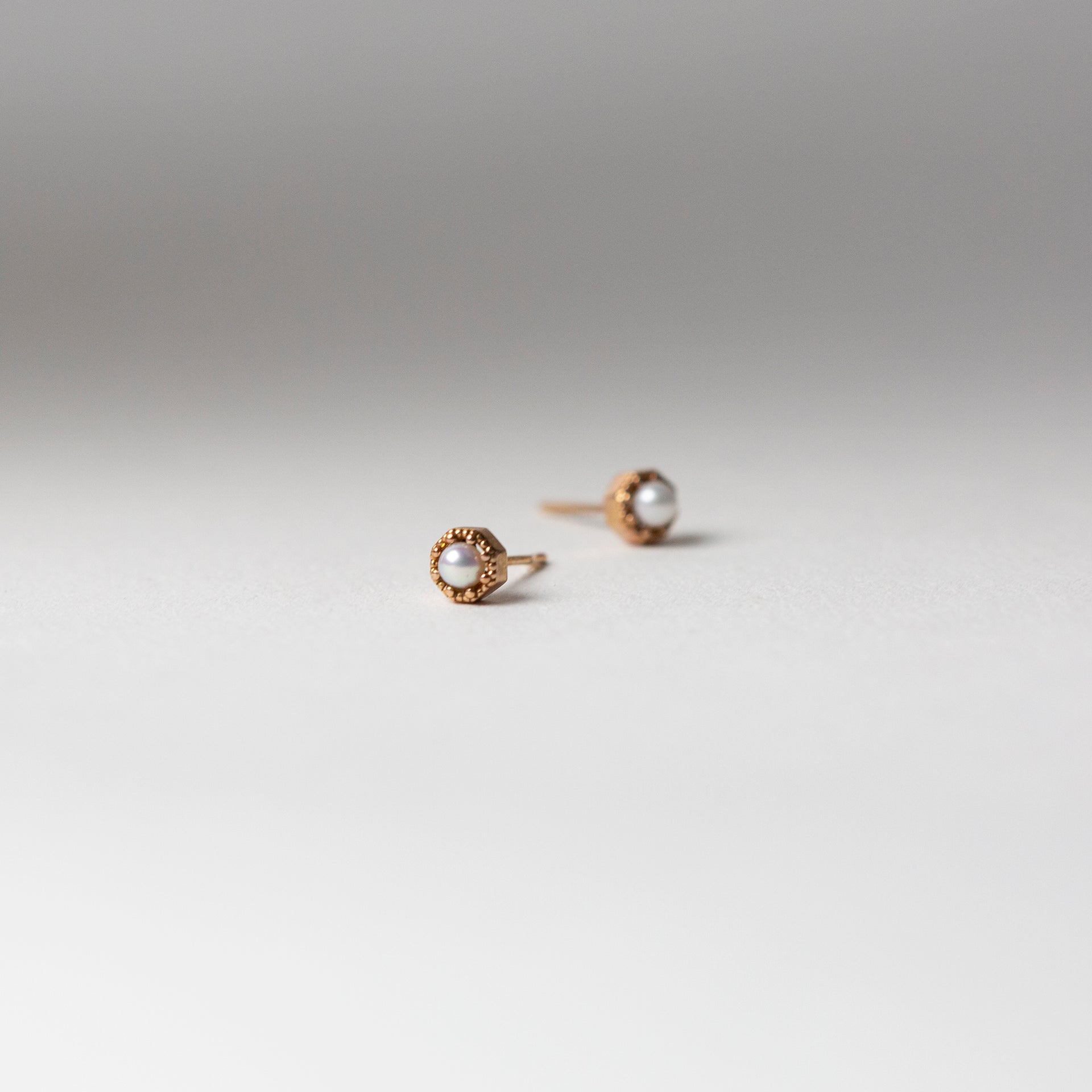 Petite Crown Bezel Pearl Earrings