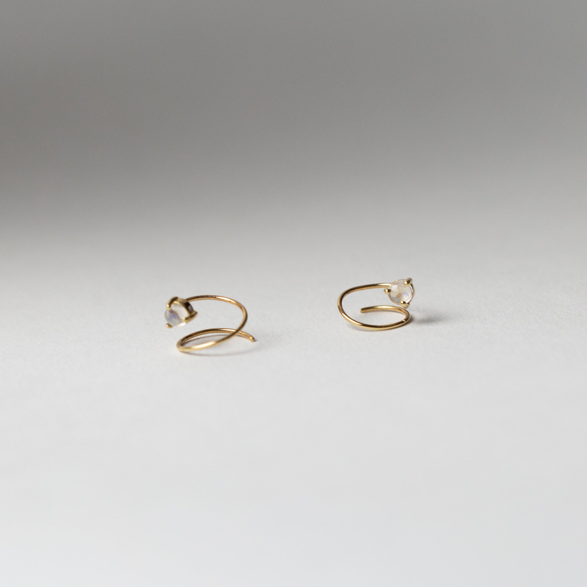 Petite Moonstone Curl Earrings
