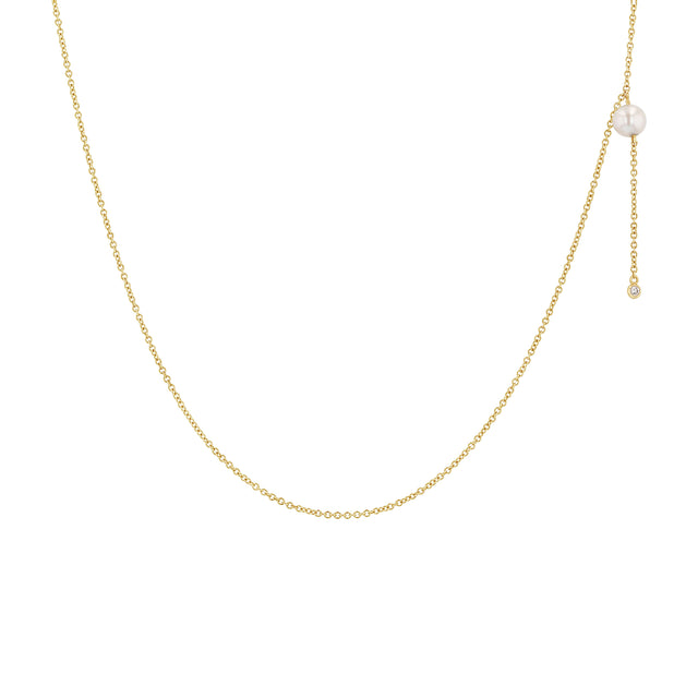 Pearl + Diamond Dangle Necklace