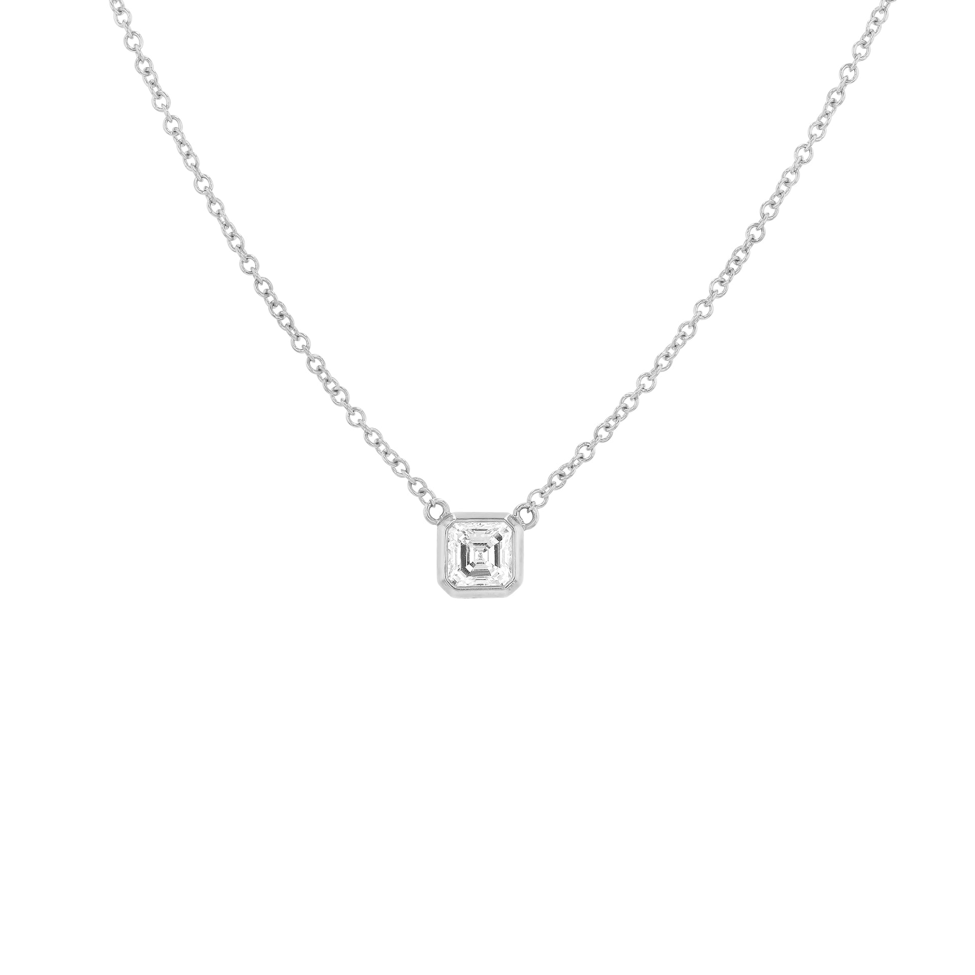Asscher Diamond Necklace