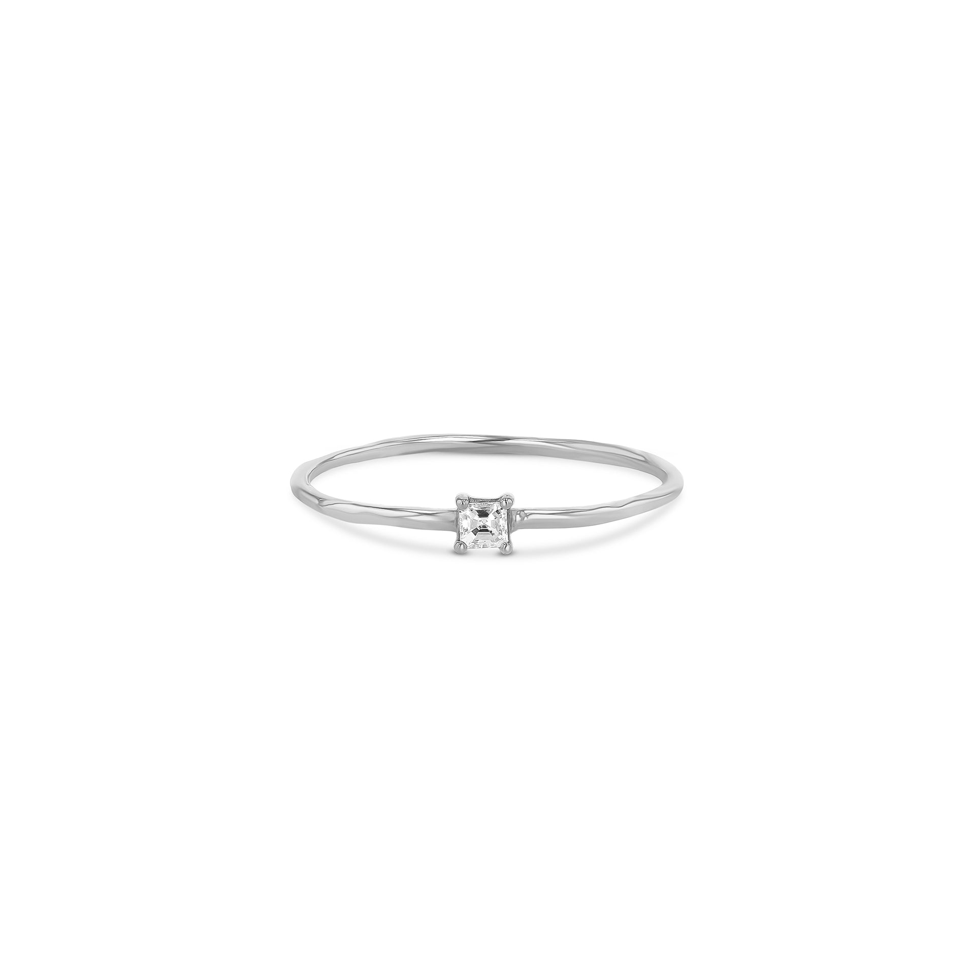 Petite Asscher Diamond Stacker Ring - RTS