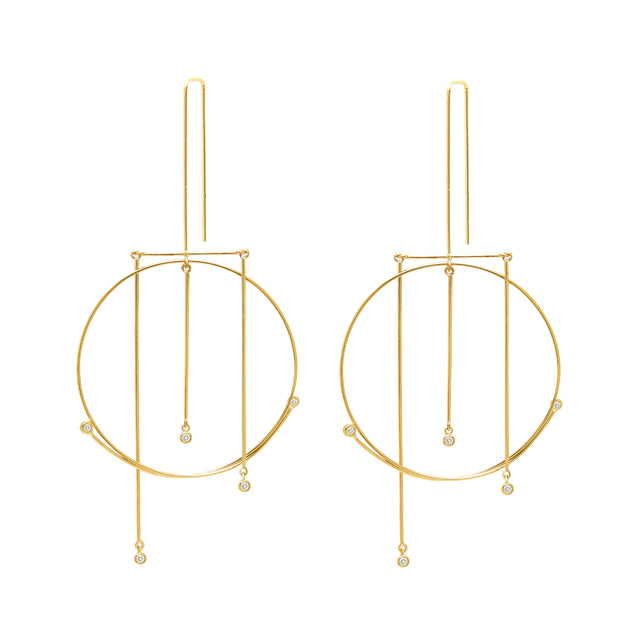 Whisper Mobile Single O Earrings w Diamonds