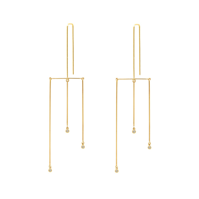 Whisper Mobile Tri-Linear Earrings w Diamonds
