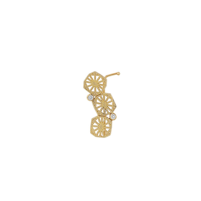 Triple Mini Lace Deco Ear Climber - II w Diamonds