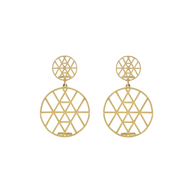 Petite Geo Duo Disc Earrings