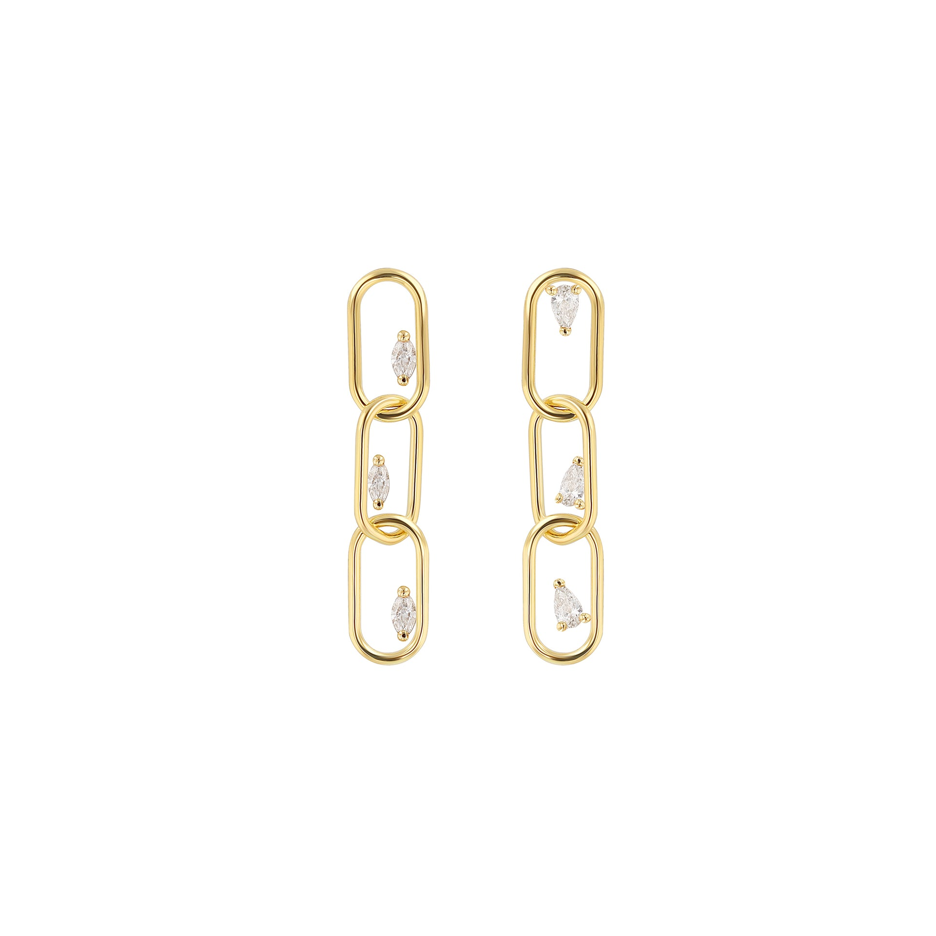 Link Earrings - 3 With Diamonds