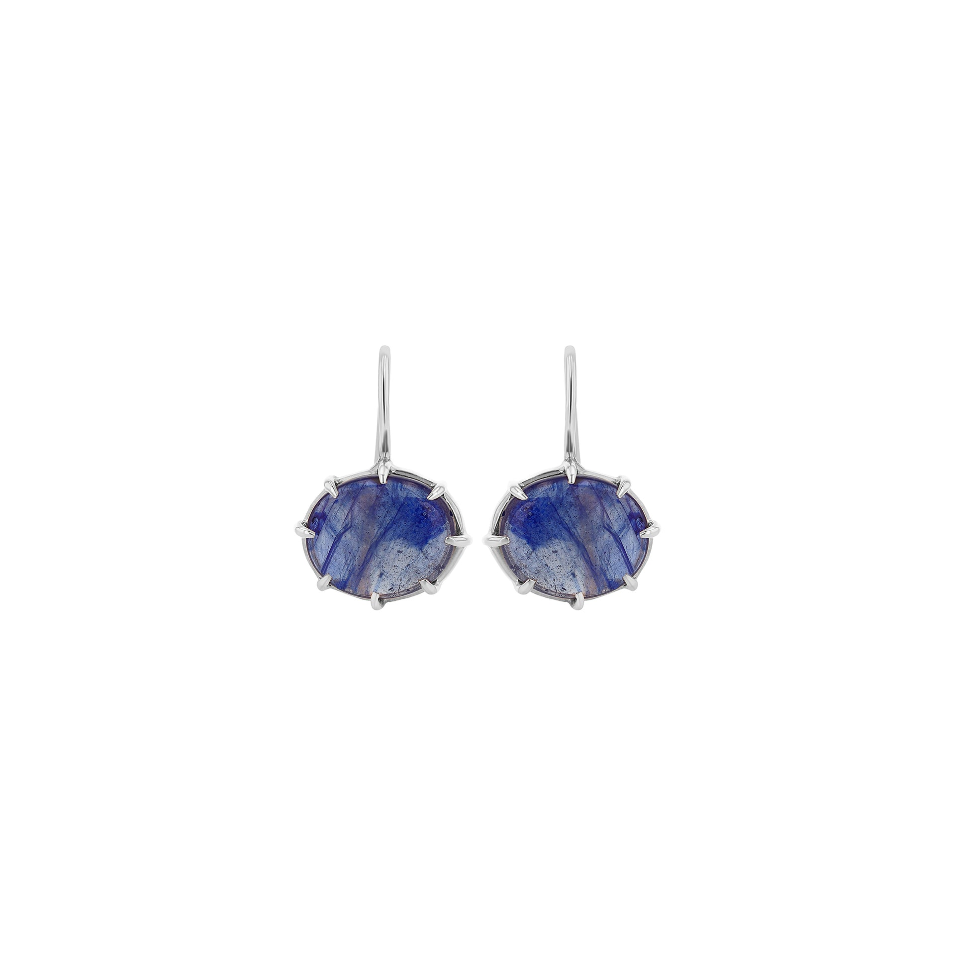 Blue Sapphire Cabochon Hook Earrings