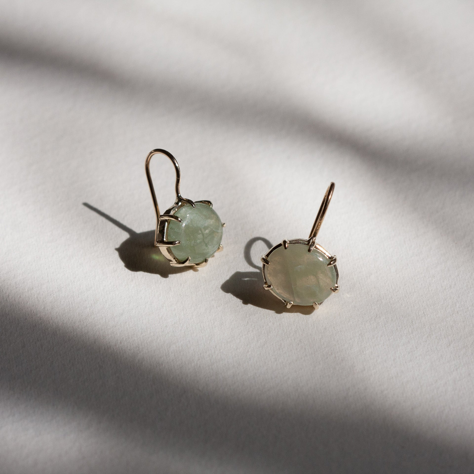Green Sapphire Cabochon Hook Earrings