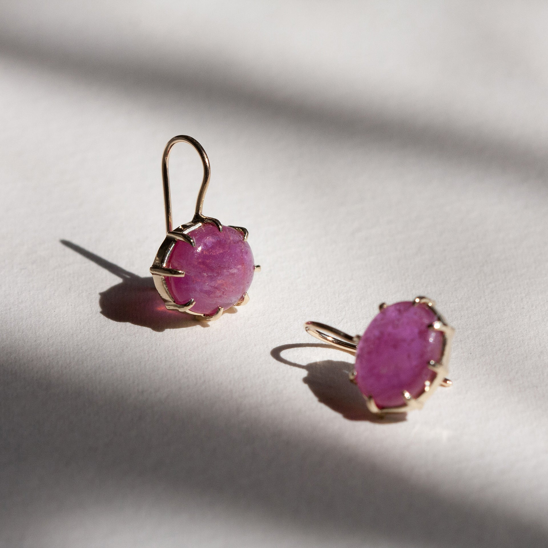 Pink Sapphire Cabochon Hook Earrings
