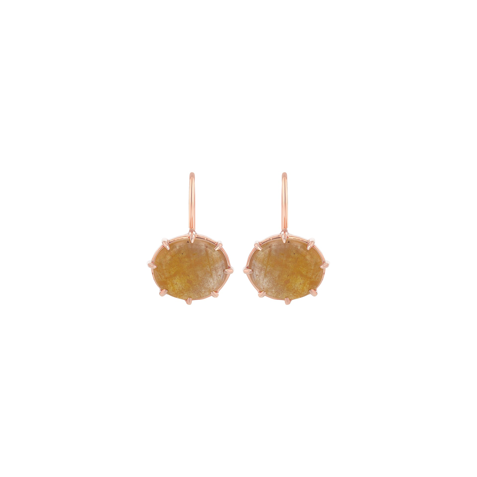 Yellow Sapphire Cabochon Hook Earrings