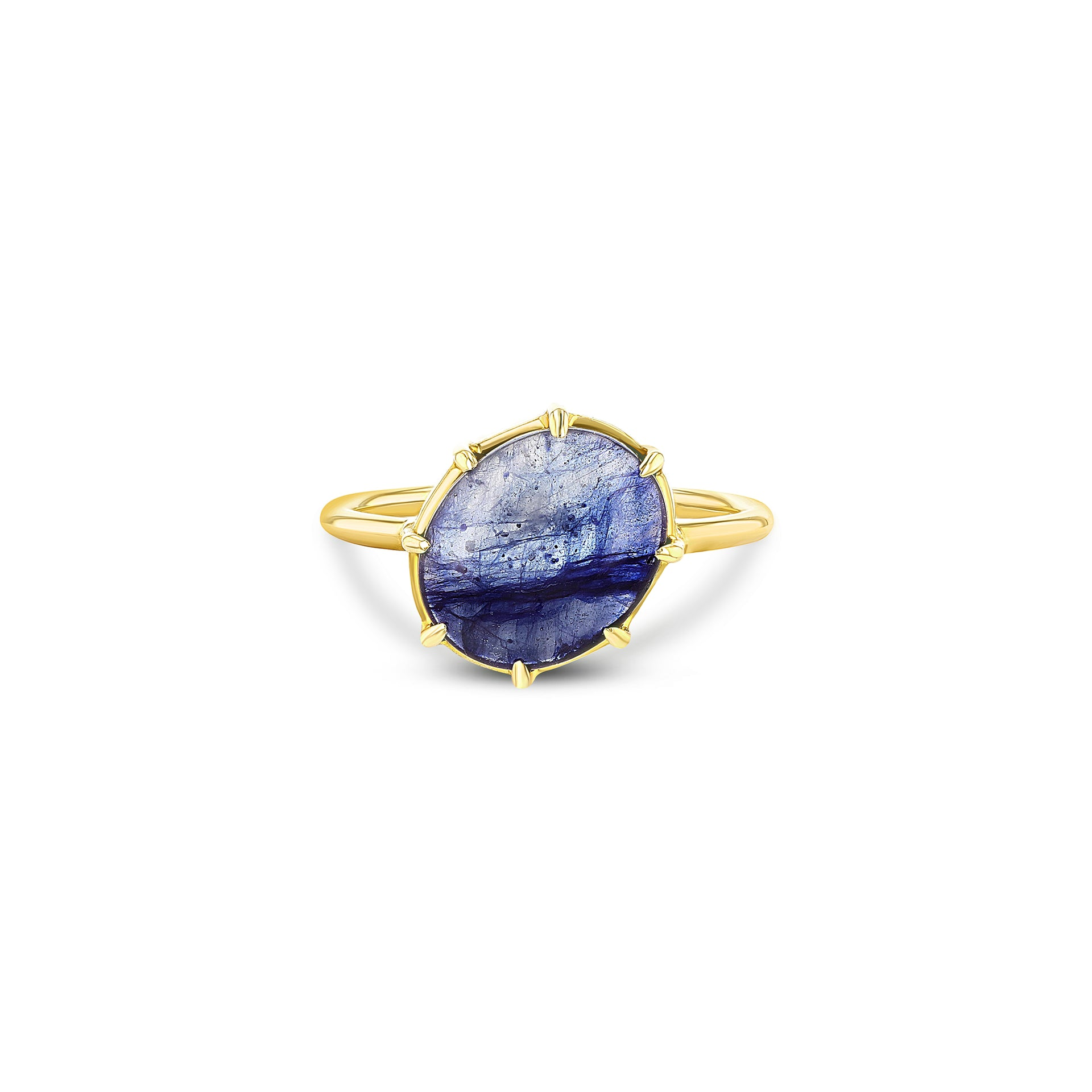 Blue Sapphire Cabochon Angled Ring