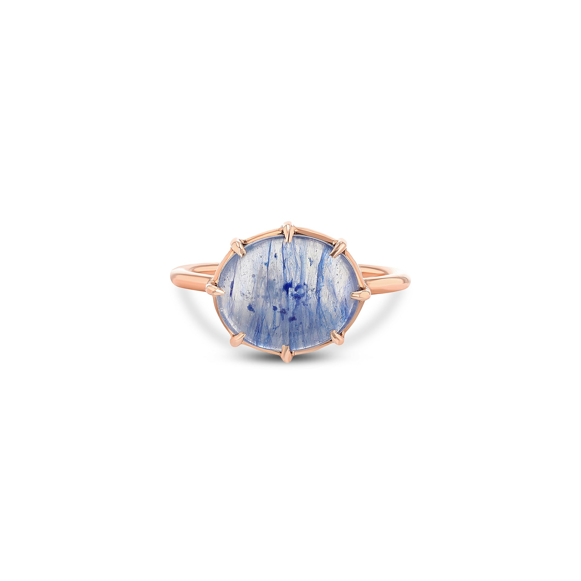 Blue Sapphire Cabochon Ring Horizontal