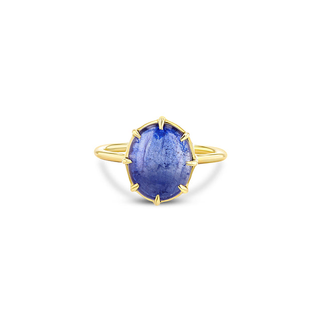 Blue Sapphire Cabochon Ring Vertical