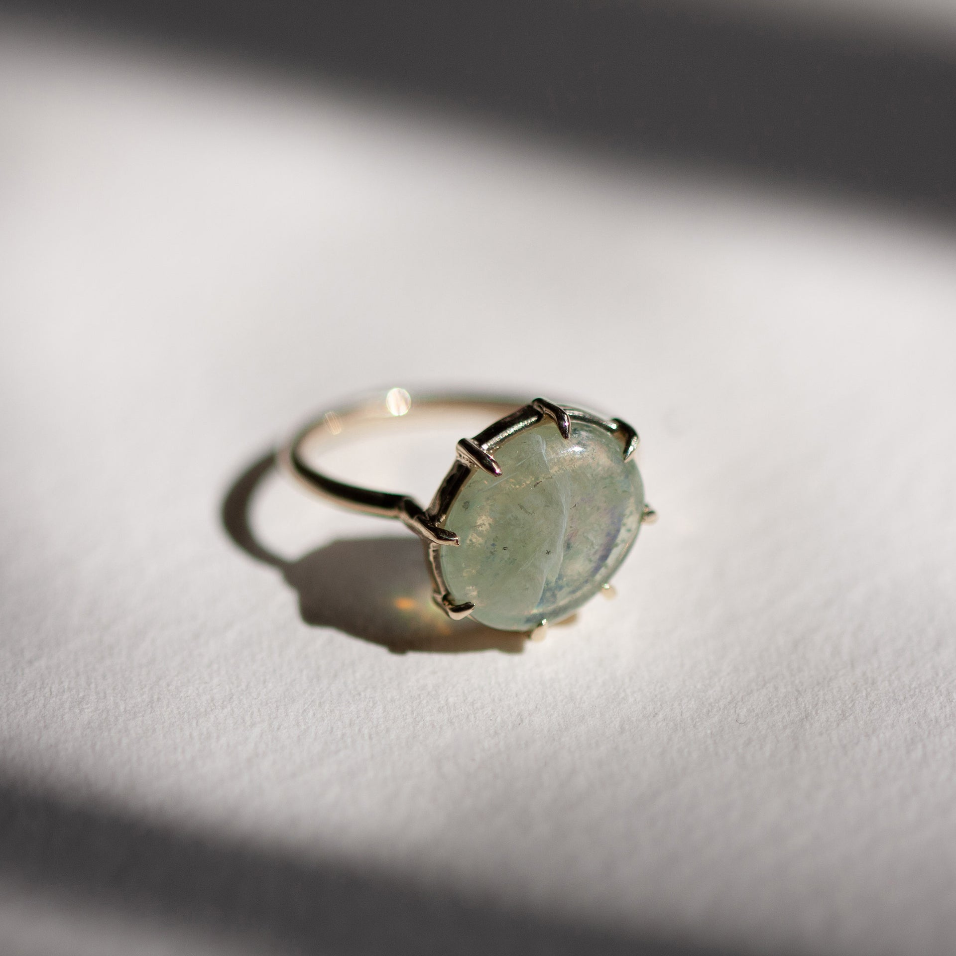Green Sapphire Cabochon Angled Ring