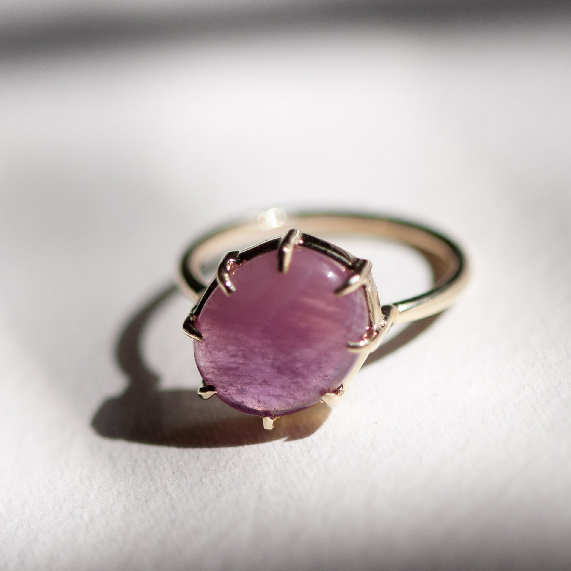 Pink Sapphire Cabochon Angled Ring