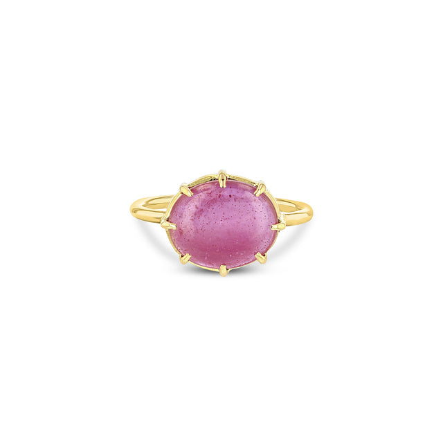 Pink Sapphire Cabochon Ring Horizontal