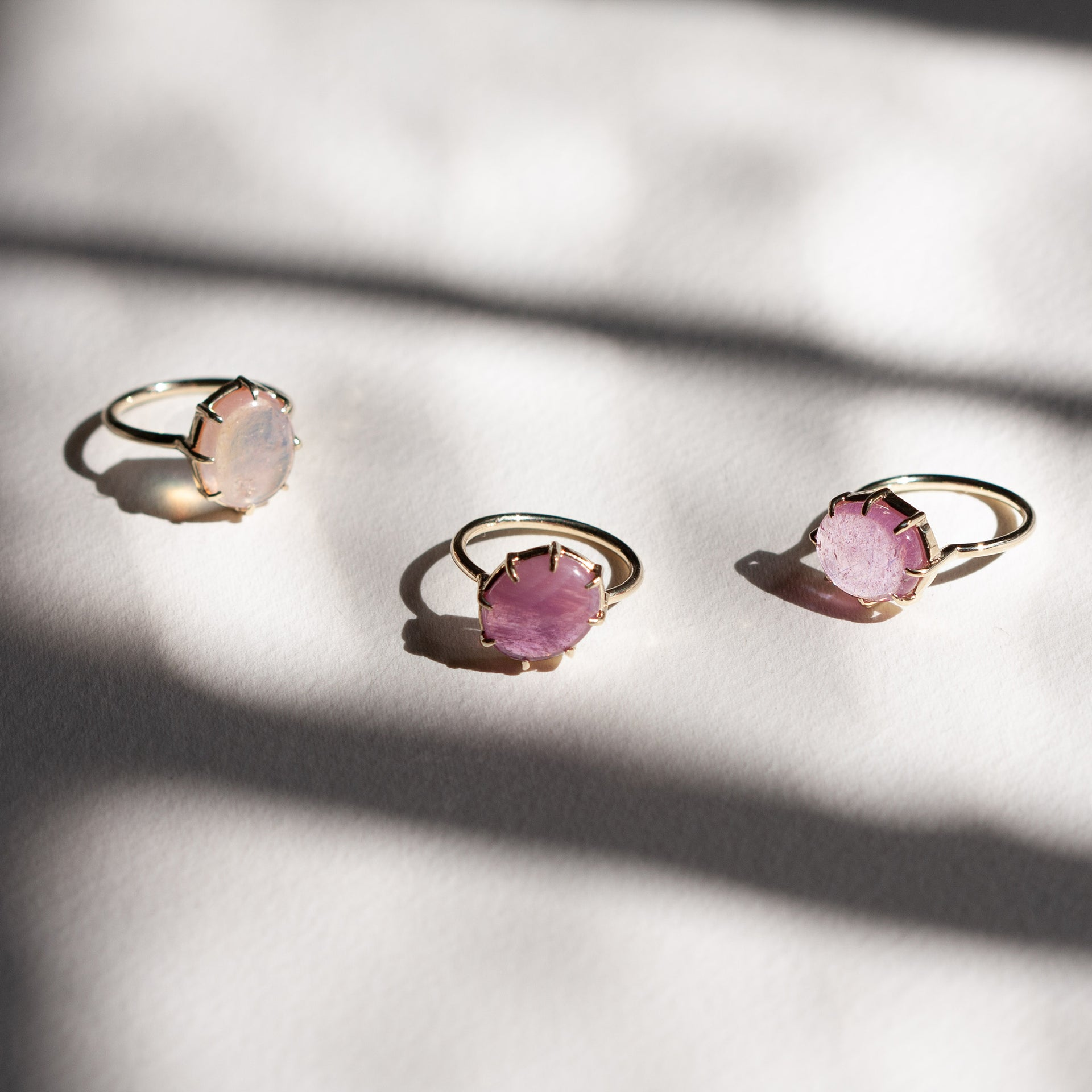 Pink Sapphire Cabochon Ring Vertical