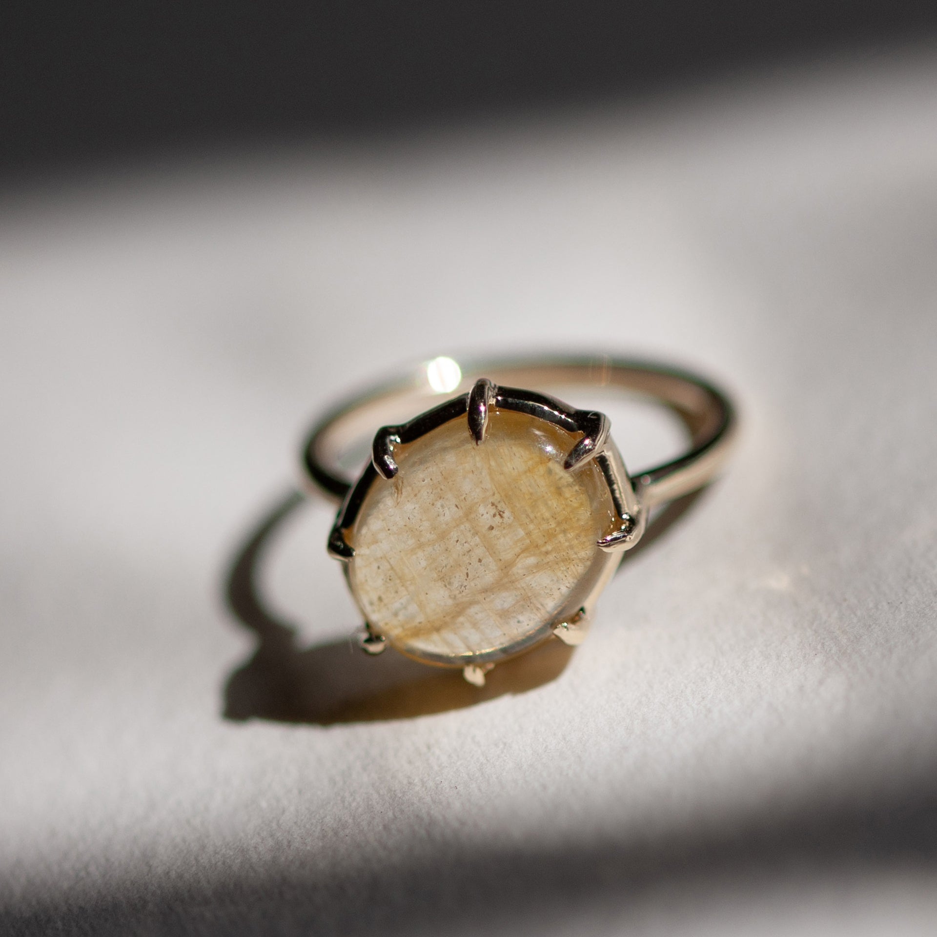 Yellow Sapphire Cabochon Angled Ring