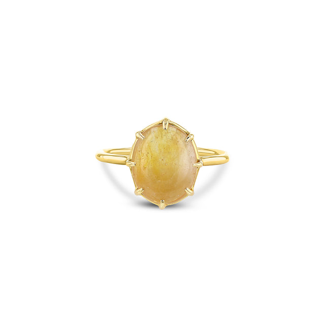 Yellow Sapphire Cabochon Ring Vertical