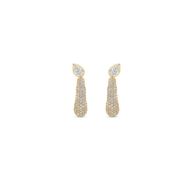 Pavé Pear Demi Hoop Earrings