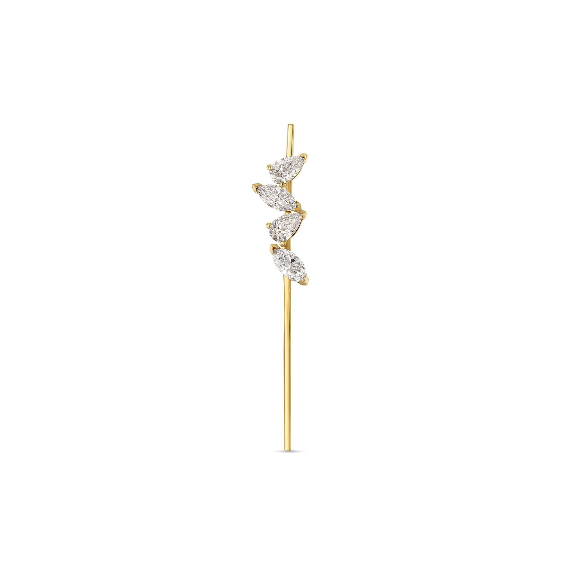 Linear Diamond Cluster Earring - 50mm