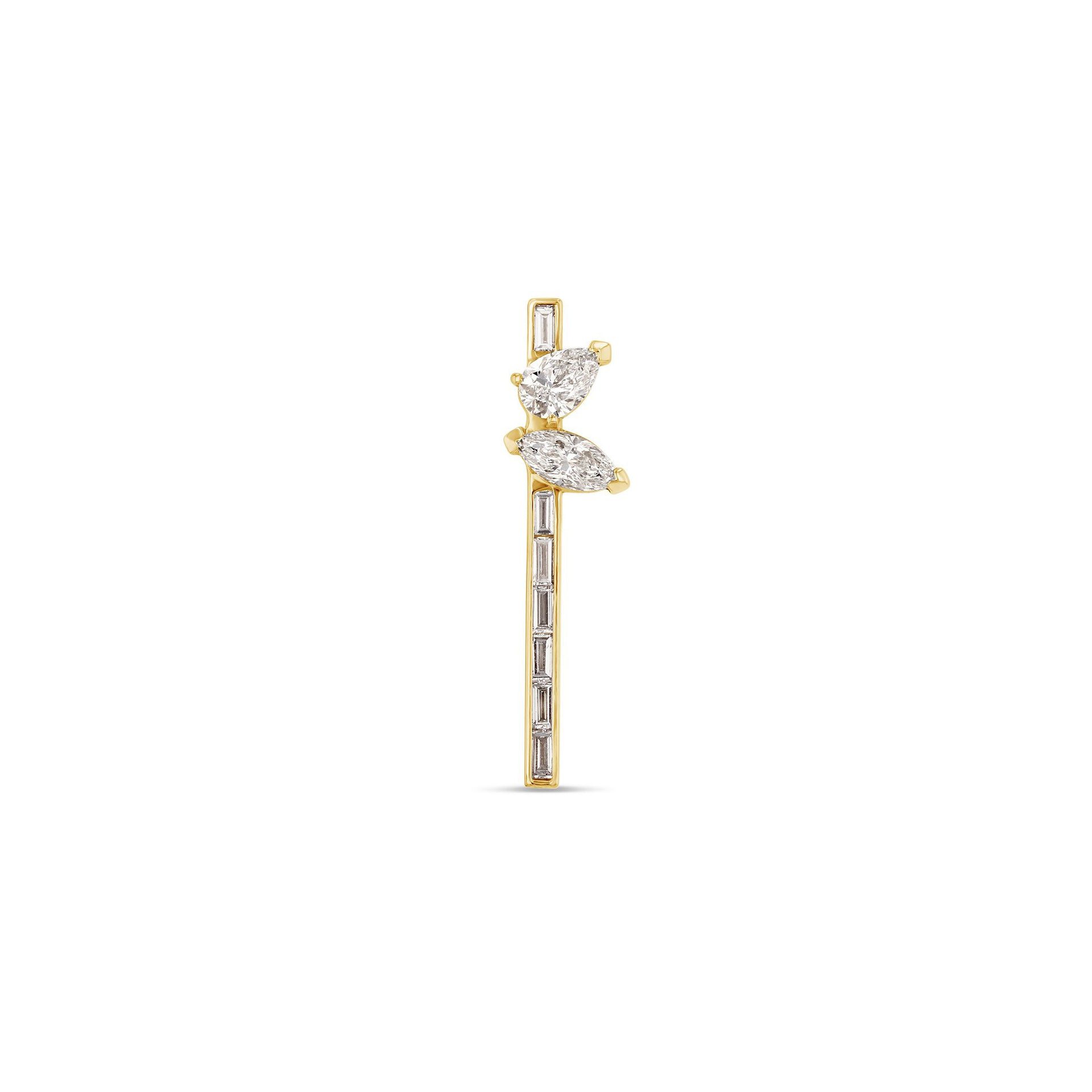 Marquise + Pear Baguette Bar Earring
